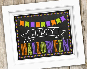 Happy Halloween Sign Instant Download ~ Printable Halloween Photo Prop ~ Halloween Chalkboard Sign Poster Decoration Decor ~ Digital Image
