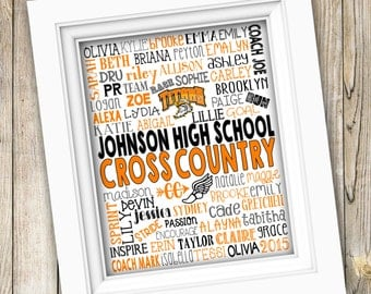 Cross Country Coach Gift ~ Cross Country Team Gift ~ Printable Cross Country Subway Art ~ High School Cross Country Team Track Team Digital