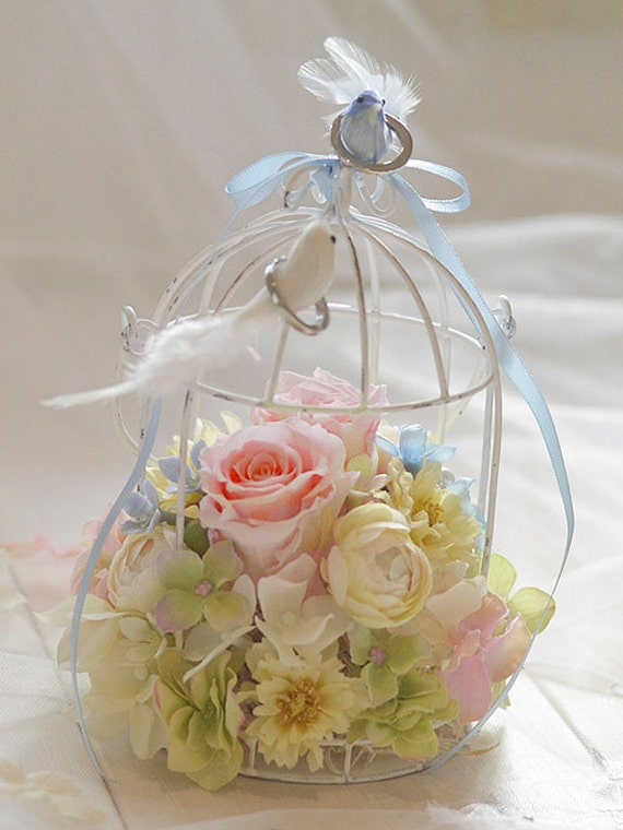 birdcage ring bearer wedding ring holder chelsea white