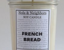 Fresh baked bread, French Bread candle, 6 oz soy candle, Bread bakery scented, Mason jar soy candle, long lasting 50+ hour burn French Bread
