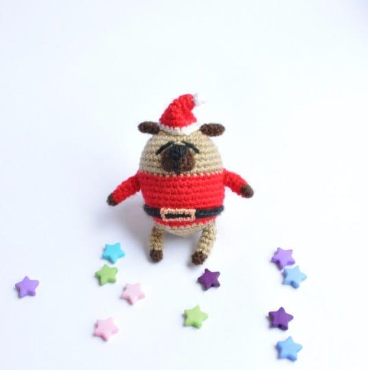 Miniature crochet pug Amigurumi pug Miniature pug Crochet toy