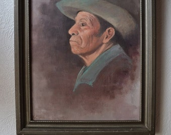 """Vintage Original Oil Painting, The Old Latino, Latin American Old Cowboy, 16"""" x 20"""", Signed"""