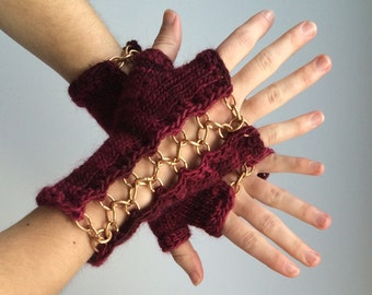 CUSTOM MADE Steampunk Fingerless Gloves  - Handwarmers - Fingerless Mitts - Metalwork - Embellished - Upcycled metal - Knit and Chain
