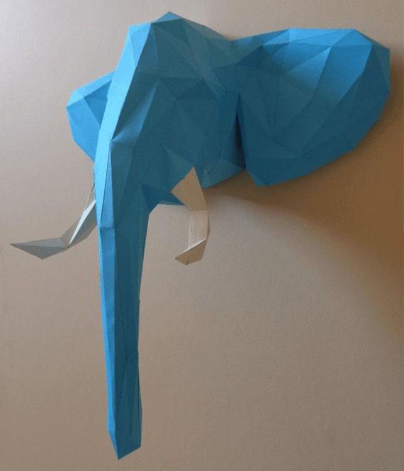 Elephant Head Papercraft Pdf Pack 3d Paper Sculpture