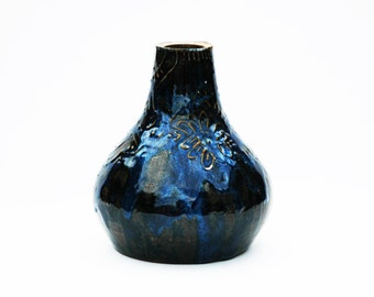 Blue + Black Slip Bud Vase
