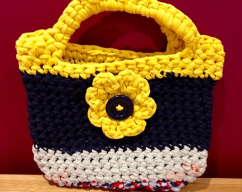 Handmade Small / Mini Recycled T-Shirt Yarn / Rag Crochet Tote Bag / Purse. Sturdy, Fun & Original.