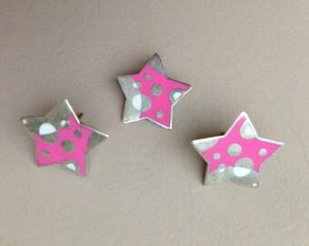 Sterling Silver Pink Star Charm & Earrings Set