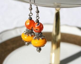 Dangle Earrings, orange earrings