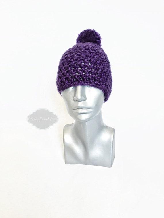 Purple Chunky Beanie with Pom, Purple Crochet Hat, Aubergine Winter Beanie with Puff, Knit Hat, Ski Cap