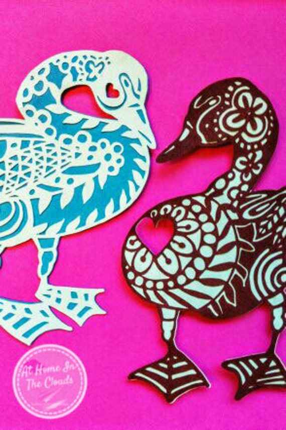 Paper Cutting Template, Personal and Commercial Use, Goslings In Love, Valentines, Printable JPEG PNG Files, DIY, Cut Your Own