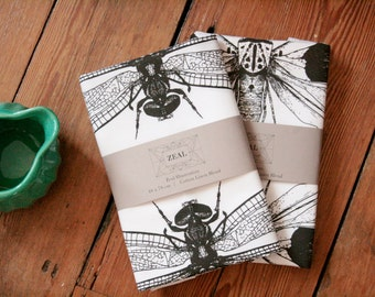 Hand Screen Printed Dragonfly Tea Towel - Ethically Made Insect, Wildlife Print Design