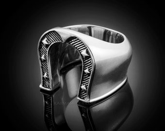 Solid Sterling Silver Mens Horseshoe Ring - Silver Lucky Horseshoe ring
