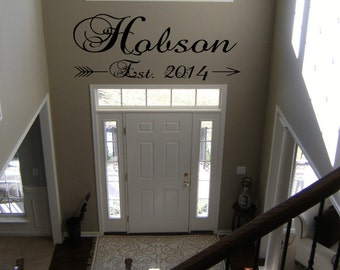 Custom Family Name Decal With Established Date For Foyer, Living Room, Family Room, Bedroom  or Office Door