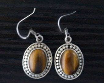 High Class TIGER'S EYE Silver Earrings