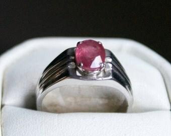 Brilliant Ruby Silver Ring