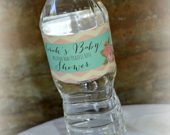 Baby Shower Water Bottle Label, Baby Shower Favors, Personalized Water Bottle Labels, Printable Baby Shower Favors