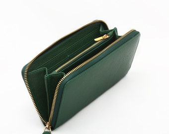 Geniune Leather Zip Wallet for Woman - W One - Green - Fedex Express Shipping