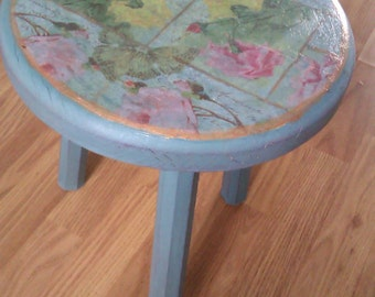 Vintage Breton Milking Stool, Hand-Painted Furniture, Small Side Table
