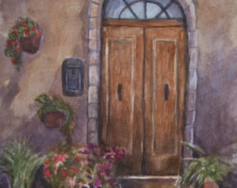 "Tuscany Brown Door,16""x20"" Original Watercolor,ONE OF A KIND,Not a Print"