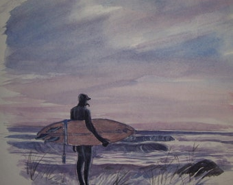 """Surfing,Winter Waves,16""""x20"""" Original Watercolor,Not a Print,Free Shipping  Code  LUCKY2"""