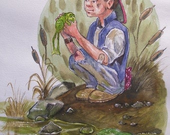 "My Little Green Buddy,16""x20"" Original Watercolor,Not a Print,Free Shipping Code: Lucky2"