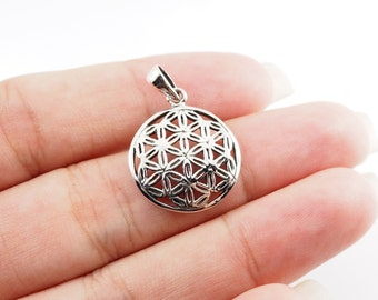 16 mm -  Flower of Life  Pendant Charm, DIY Accessory Necklace ,  925 Sterling Silver , MI.21/PE25