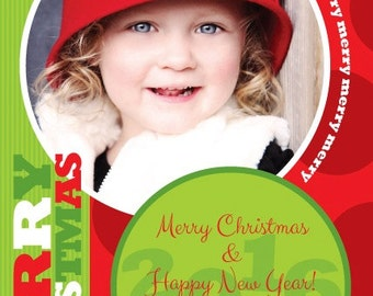 Merry Merry Dots Christmas Holiday PhotoCard, Family Holiday Invitation Announcement, Winter Family Invite,Stationery,Original Design PC1366