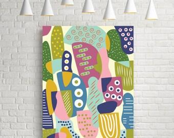 Colourful wall art, children room decor, colourful art, nursery decor, room decor, playful, colorful, room art, modern poster, wall art