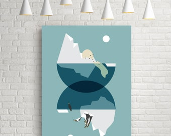 North and south, geometric abstract art, blue prints, polar bear print, penguin print, geometric illustration, arctic print, arctic poster