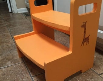Kids wooden 2-step stool, Available in a variety of colors and stenciled designs!