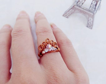 Sale 10% Princess's Crown Copper wire, Ring jewelry, copper wire Ring is combine white crystal