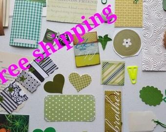 Green junk journal kit, art journal kit, mixed media kit, smash journal kit, scrapbook inspiration kit, paper ephemera kit, snail mail kit.