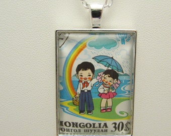 Mongolian Stamp Necklace, Upcycled Stamp Glass Pendant, Children with Rainbow Glass Photo Pendant, Cancelled Mongolian Stamp Necklace