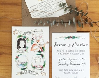Rustic Portrait Invitation hand painted