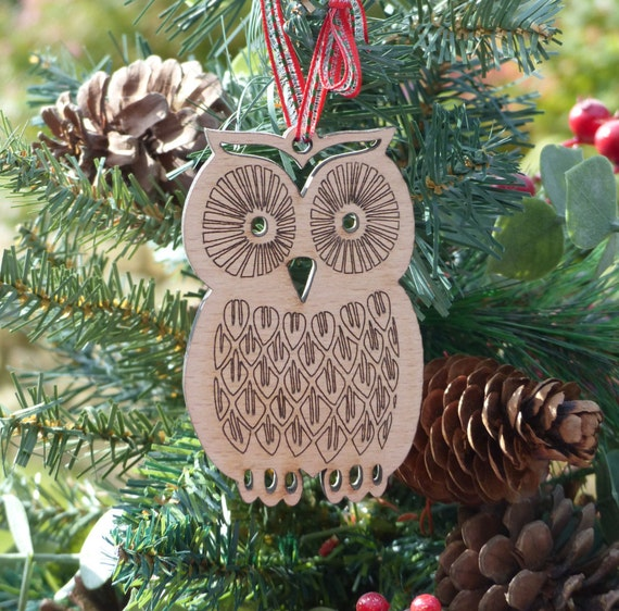 Christmas Tree Decoration Owl : Owl wooden christmas tree decoration laser cut and engraved