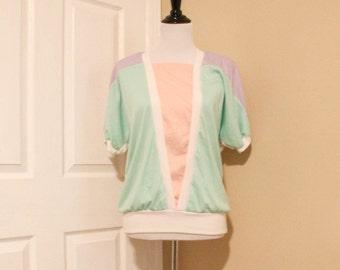 80s Pastel Sweatshirt Top