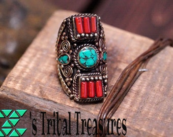 Turquoise and Coral Ring,Tibetan Ring,Coral Ring,Turquoise inlay Ring,Nepali Ring,Tibetan Jewelry,Turquoise Ring,Free Shipping