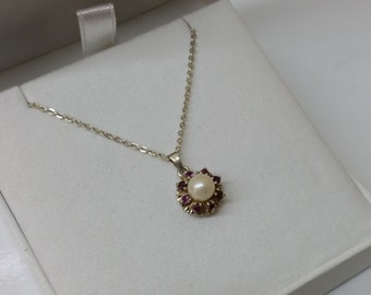 925 Silver Pendant with Garnet and Pearl SK911