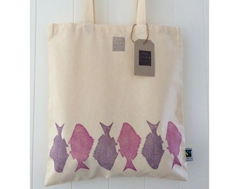 "Handprinted ""Mallacoota Bream"" Fish Fairtrade Cotton Tote"