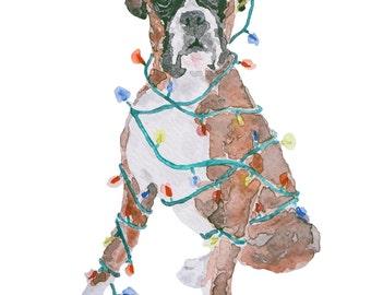 Watercolour -  Christmas card - Boxer dog