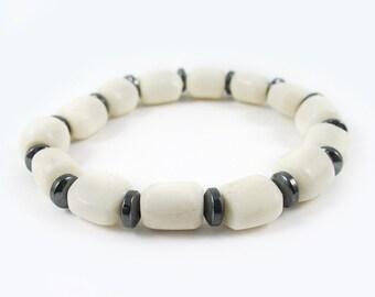 Ivory bone bead bracelet, Hematite bead bracelet, Southwestern jewelry, Stackable bracelet, Teen girl gifts, Mothers day gift, Girlfriend