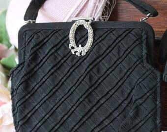 Vintage, 1950, Black Evening Bag/Evening Purse/Evening Wear/Wedding   SALE