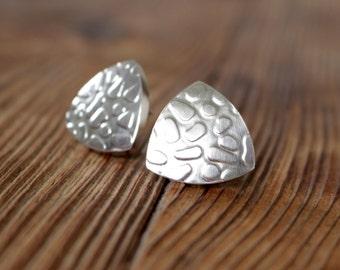 Silver earrings, ear clip silver, earrings clip, rolling textured, pattern II
