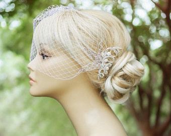 Birdcage veil, Wedding comb, Wedding fascinator, Wedding hair accessories, Ivory birdcage veil, Ivory fascinator, bridal head piece