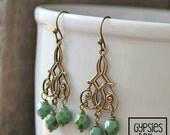 Bohemian Chandelier Earrings / Czech Fire Polished Glass Picasso Green Bead Earrings