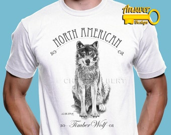 American Timber Wolf Soft and Comfy Quality T-Shirt - Men Unisex - Wildlife Animal Nature - Tee TShirt Gift - Drawing by Chris Holbert