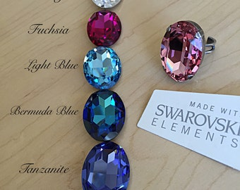 7 Colors! Statement Rings with Oval Austrian Swarovski Glass Crystals 30x22mm. Adjustable.
