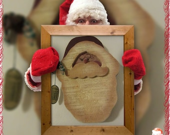 Vintage Hand Painted Wooden Santa Face - Primitive or Country Santa