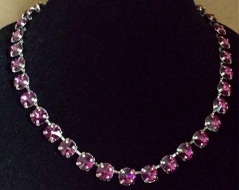 Swarovski crystal choker in 11mm purple