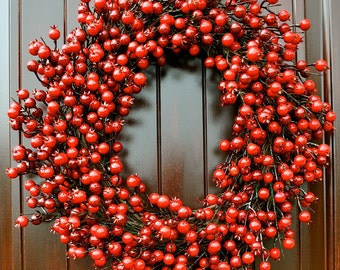 Red Berry Wreath~Rose Hip wreath~Red Berry Wreath~Red Door wreath~Red Wreath